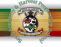 Harvest Prep logo with African shield and spears, red green black color scheme