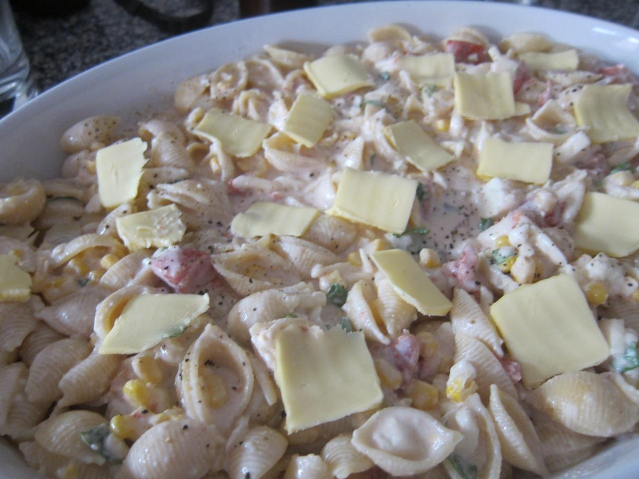 ... : Al Forno's Baked Pasta with Five Cheeses, Tomato, Cream, and Corn