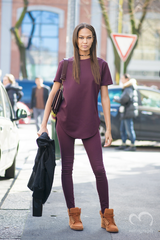 Model Joan Smalls leaves Fendi 2015-2016 Fall Winter show during Milan Fashion Week MFW