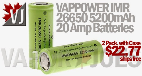 Vappower IMR 26650 5200mAh 20 Amp Continuous Output Batteries