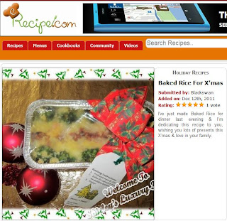 erecipe features baked rice christmas recipe