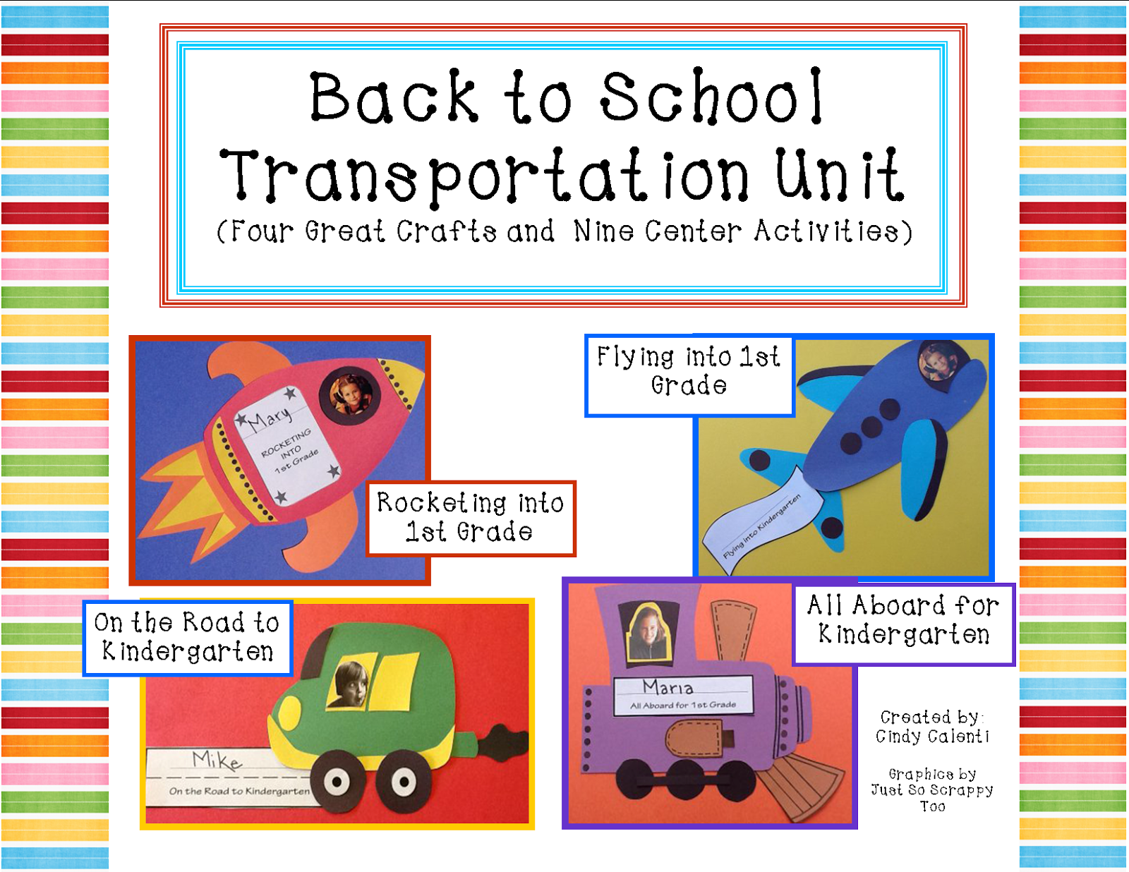 http://www.teacherspayteachers.com/Product/Back-to-School-Four-Transportation-Crafts-and-Nine-Literacy-Centers-794919