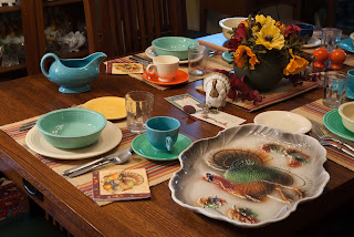 Fiesta dishes, table set for Thanksgiving dinner