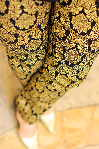 Black & Gold Brocade Jeans