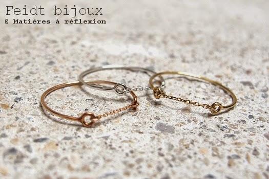 Bague chaîne jonc or rose 9 carats Feidt bijoux