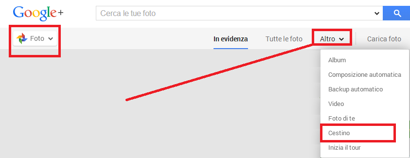 Come recuperare le foto eliminate cancellate  da social network Google+ cestino