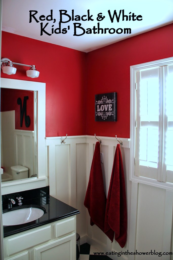 Black White And Red Small Bathroom Makeover