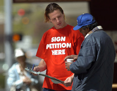 Gathering signatures to stop the repeal of the death penalty in Nebraska
