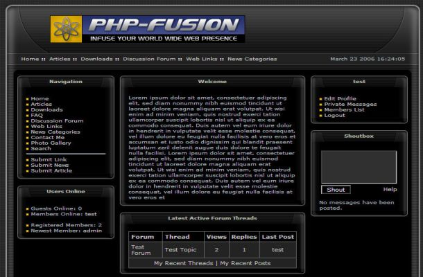 Free Dark Black Grunge Php-fusion Style Theme