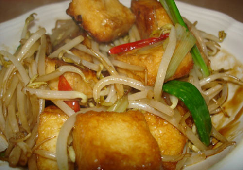 Easy vegetable stir fried recipe - stir fried bean sprout with tofu
