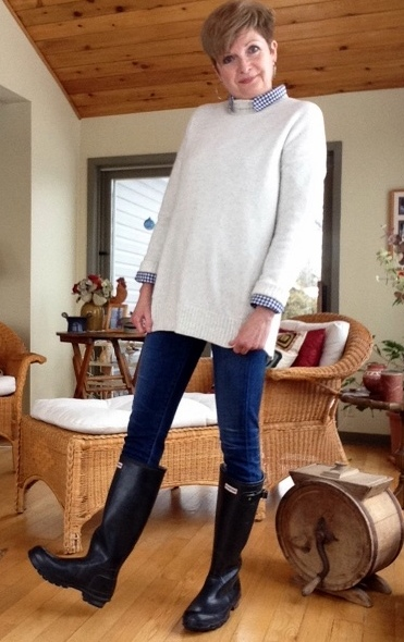 Hunter boots and jeans
