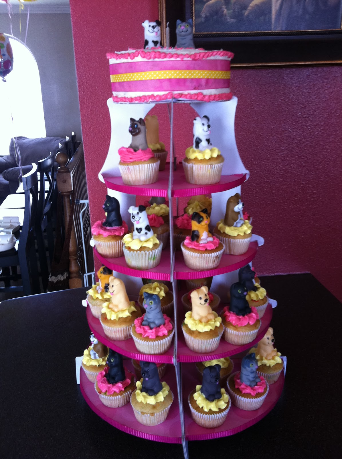 Utah County Mom 1st birthday party Cupcake tower