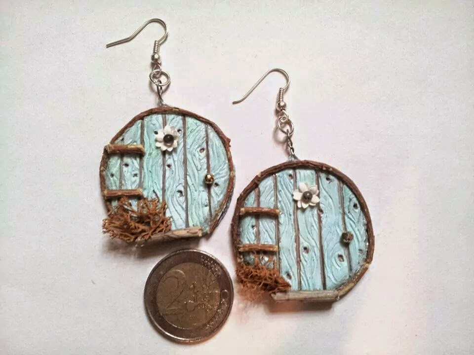 earrings orecchini fairy elf gnome door porta delle fate handmade polymerclay