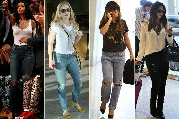 Famosas aderem à tendência calças rasgadas, conhecidas como destroyed