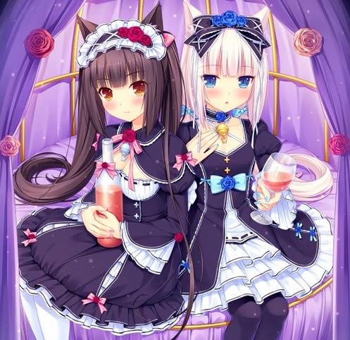 anime twins,anime nekomimi,Sayori