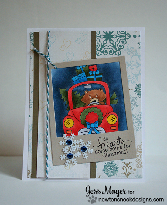 Bear in Car Christmas Card by Jess Moyer for Newton's Nook Designs - Winston's Home for Christmas Stamp set