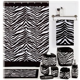 black and white shower curtain zebra