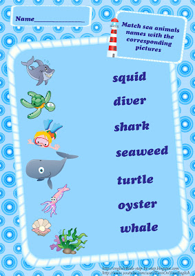 ocean animals vocabulary matching worksheet