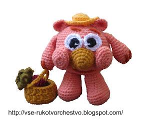 Вязаная крючком игрушка своими руками Копатыч из мультфильма Смешарики