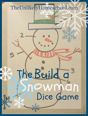The Build a Snowman Dice Game-a simple family game to play on Christmas Eve or at a winter party. The Unlikely Homeschool