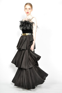 Vintage 1970's black tiered ostrich feather maxi dress with spaghetti straps.