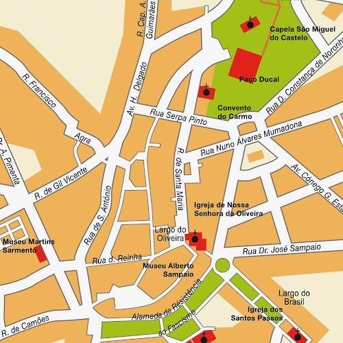 Mapa do centro de Guimarães