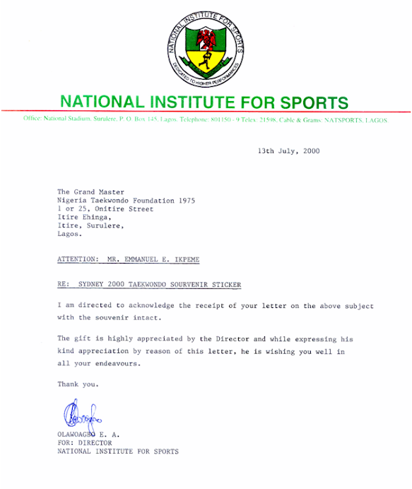 ACKNOWLEDGEMENT BY NATIONAL INSTITUTE FOR SPORTS