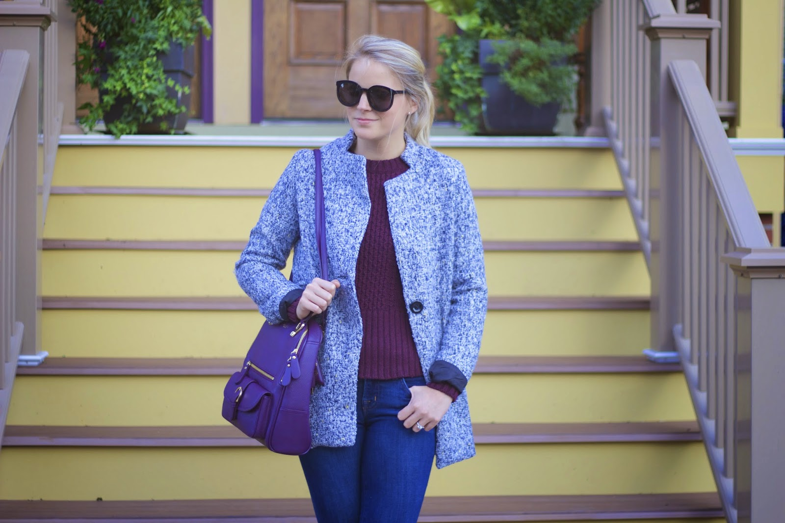 tweed coat, wine cable knit sweater,  sweater, skinny jeans, fall trends