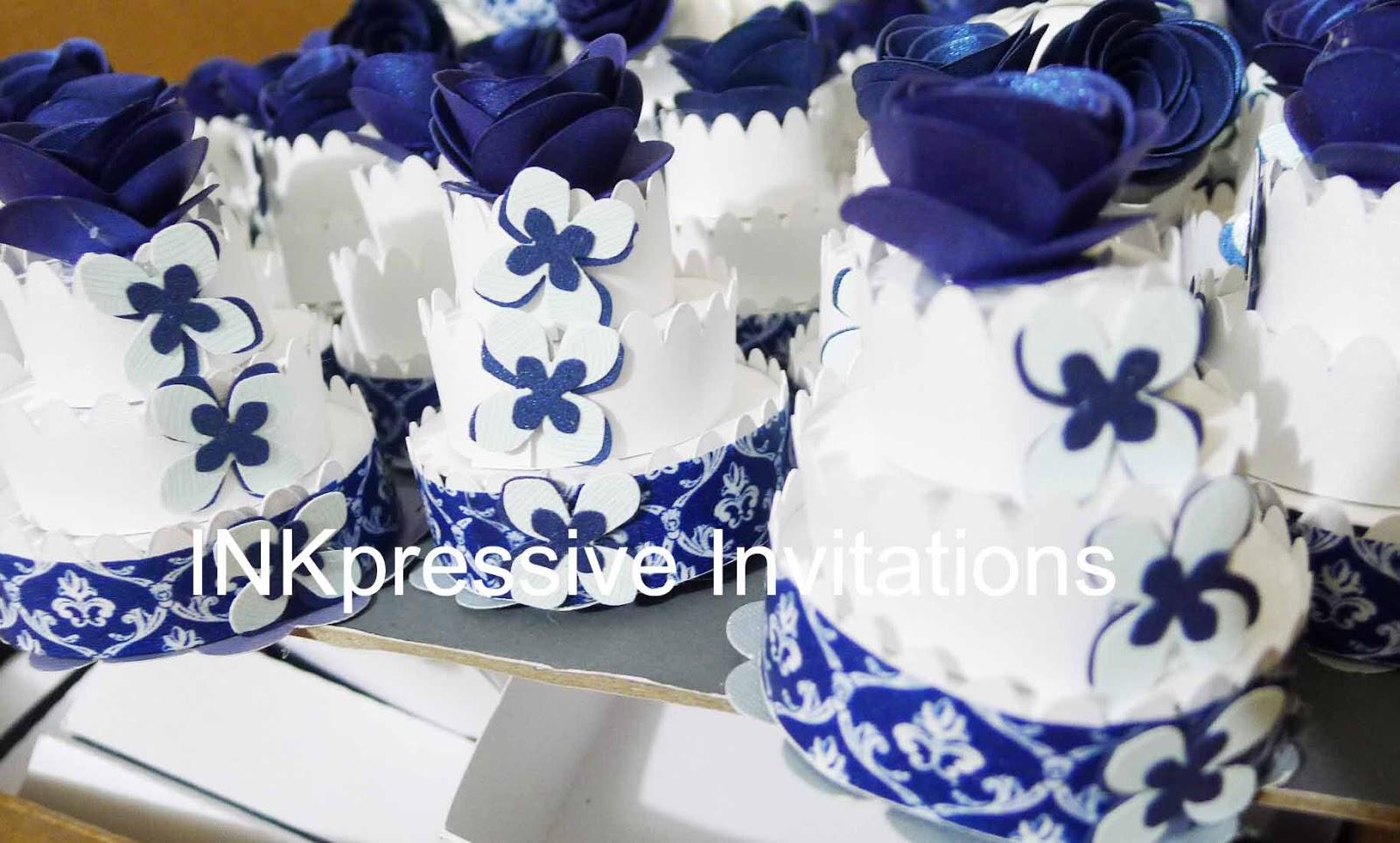 Exploding Box Double Blue and Silver | INKPRESSIVE INVITATIONS