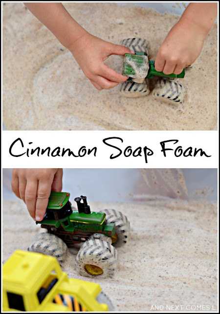 Cinnamon soap foam sensory play idea for kids from And Next Comes L