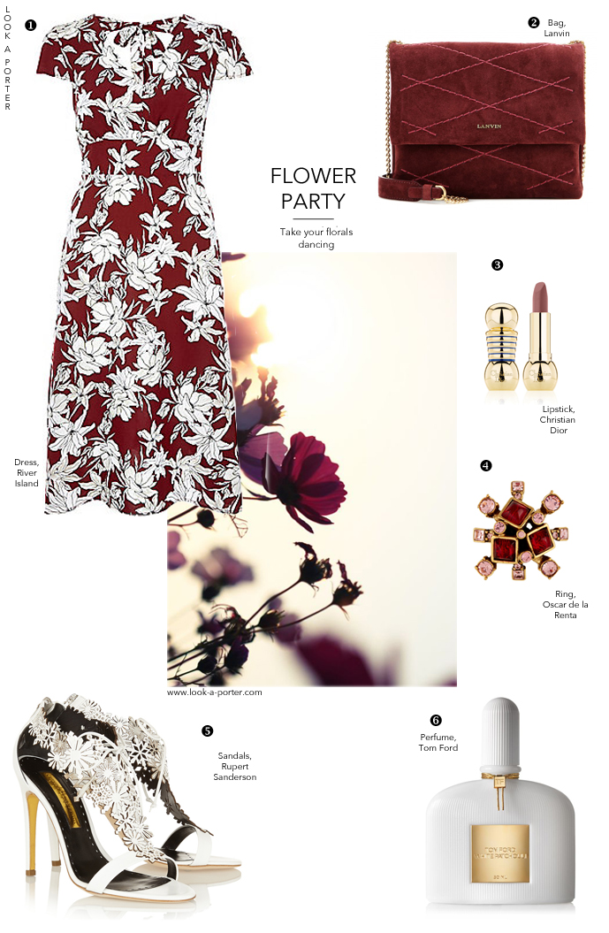 how to style florals / how to wear floral dresses / outfit inspiration and ideas / mixing high street and high end clothes / river island, lanvin, rupert sanderson, tom ford, christian dior, oscar de la renta via look-a-porter.com