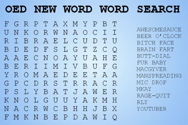 OED new word word search