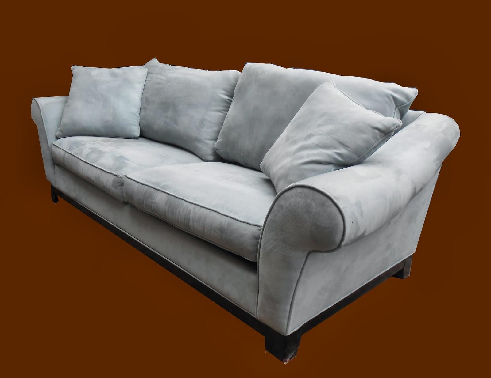 Light Slate Blue Ultrasuede Sofa Sold