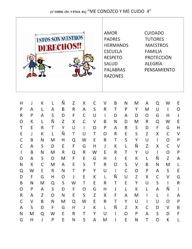 Sopa de letras de los derechos del niño