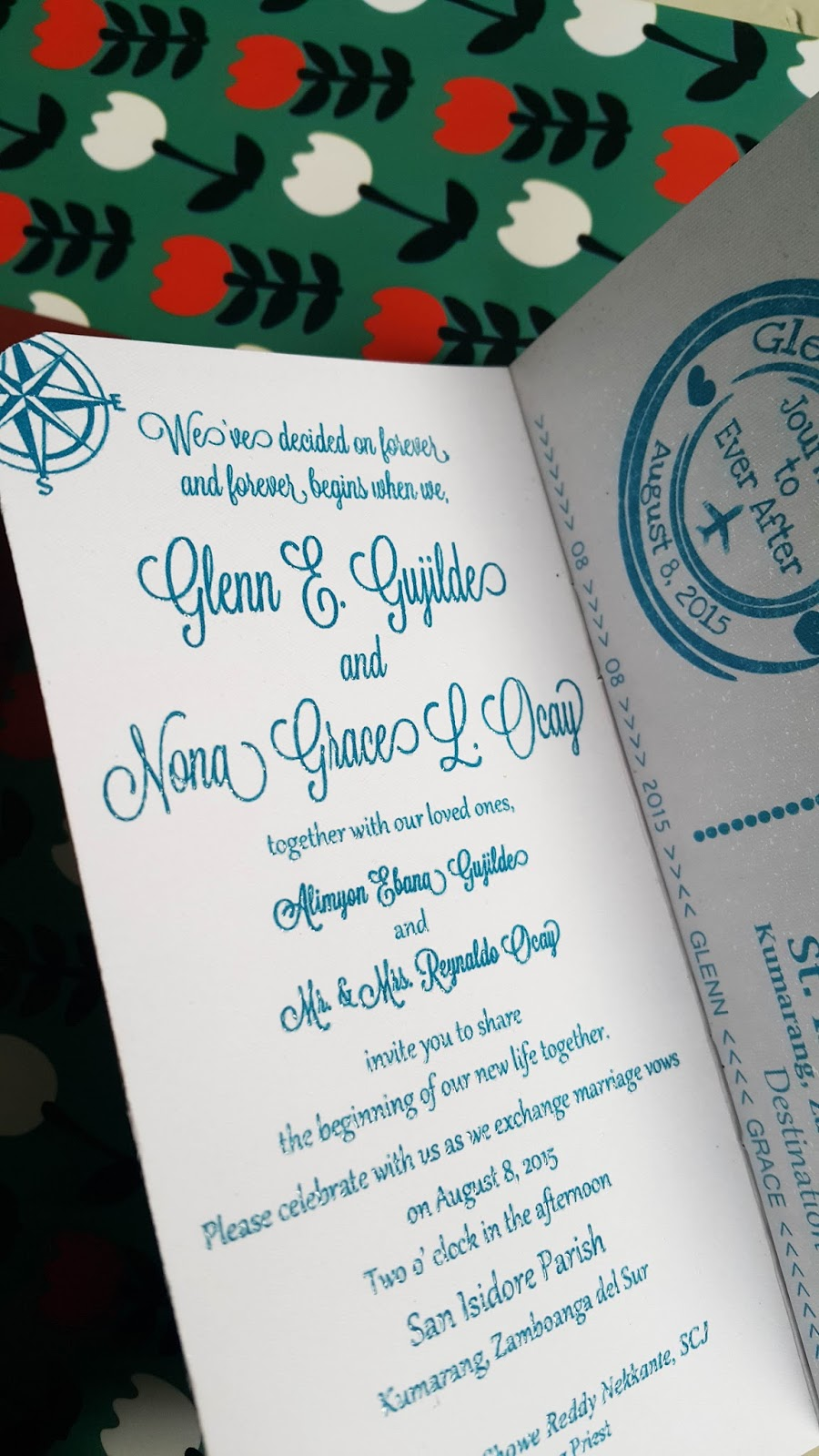 Suitcase and passport travel wedding invitation - turquoise and ...