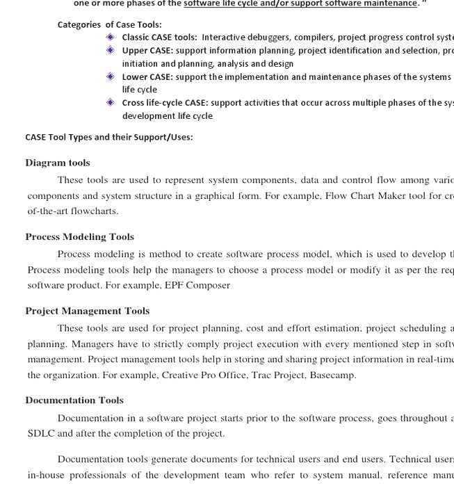 Computeraided Software Engineering Examples Of Case Tools - Process documentation tools