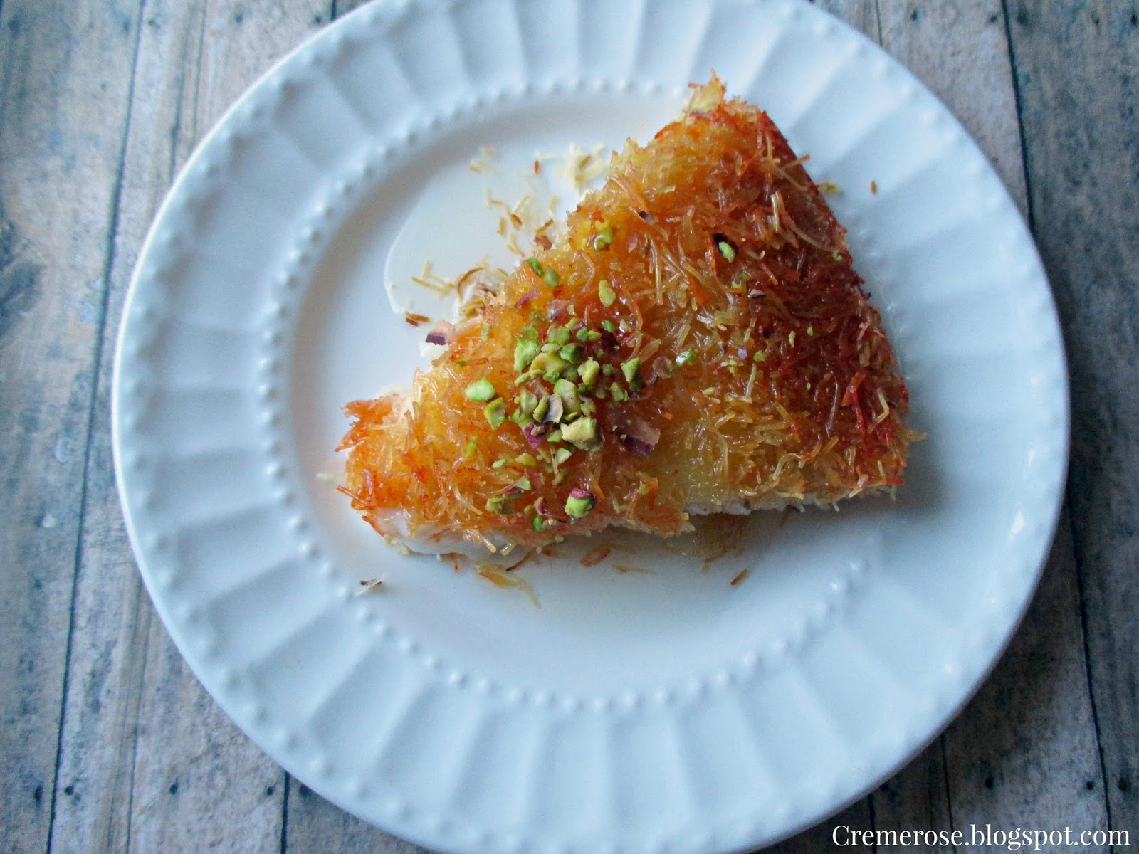 Middle Eastern Dessert Kunafa With Cream