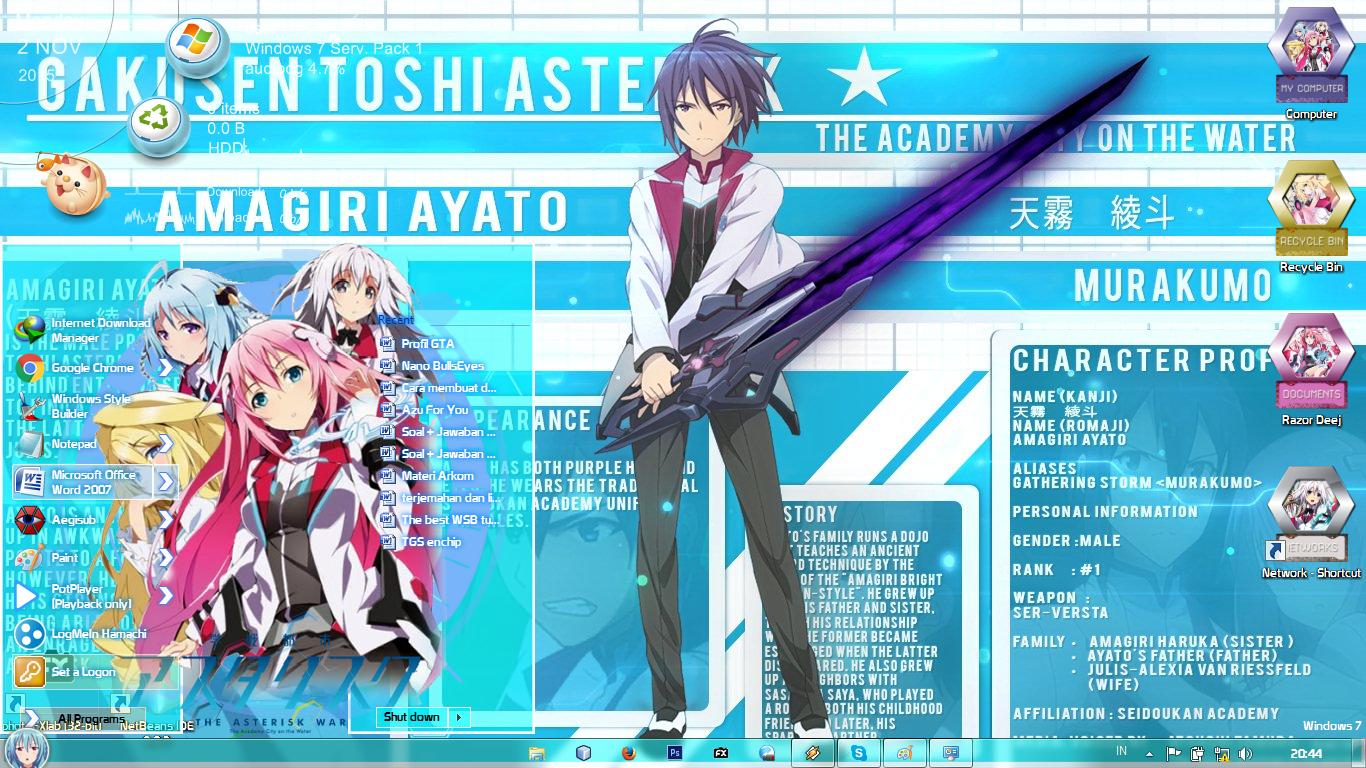 Windows 7 Theme Gakusen Toshi Asterisk By Deej