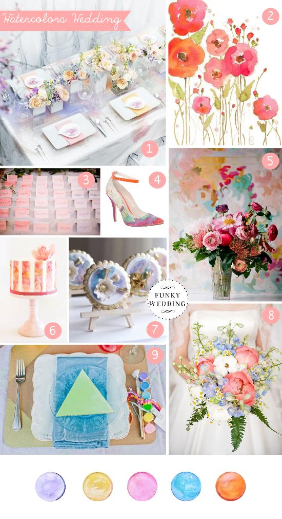 Watercolors wedding, matrimonio a tema acquerelli, wedding inspiration boards