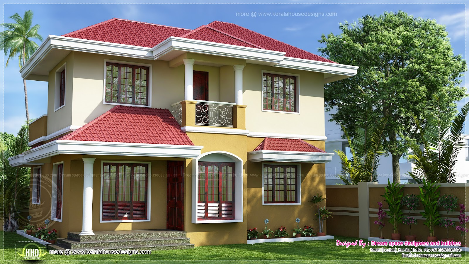 Villa with 3 bed appropriate in a 3 cents of land kerala for Villa plans in kerala