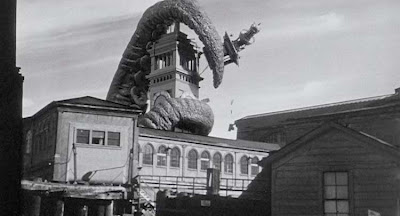 It Came from Beneath the Sea Octopus attacks clock tower