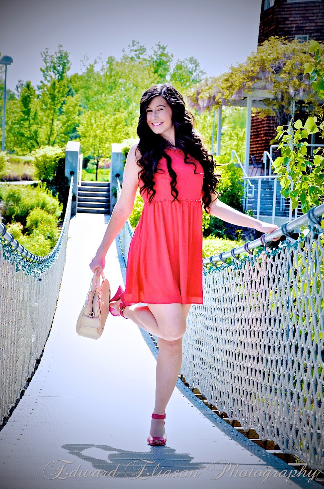 red dress, studded dress, little red dress, white plum boutique, fit and flare red dress, fit and flare, cute dress, pink ankle strap wedges, cream handbag, american eagle wedges,