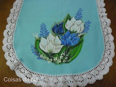 """""""caminho de mesa com pintura de tulipas ladoB"""""""