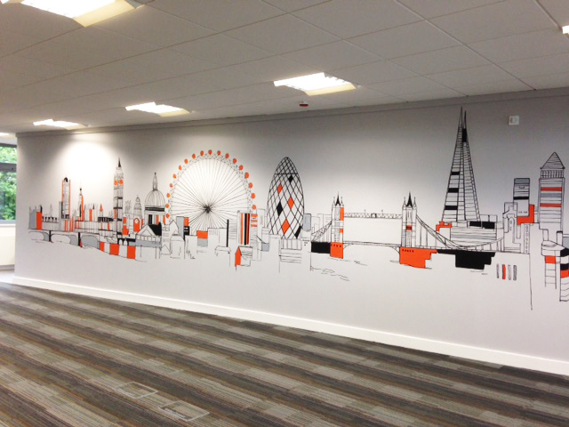 Joanna perry top mural artist hand painting murals for City skyline wall mural