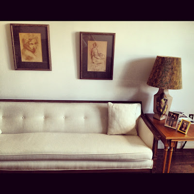 Mid-century couch, lamp