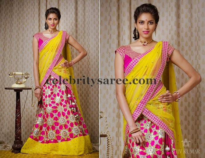 Latest Floral Half Sari by Bhargavi