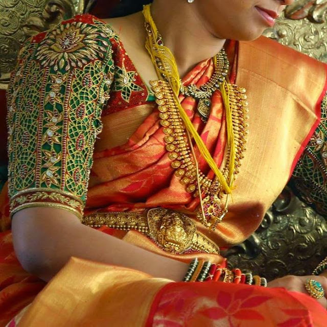 Bride in Green Thread Work Blouse