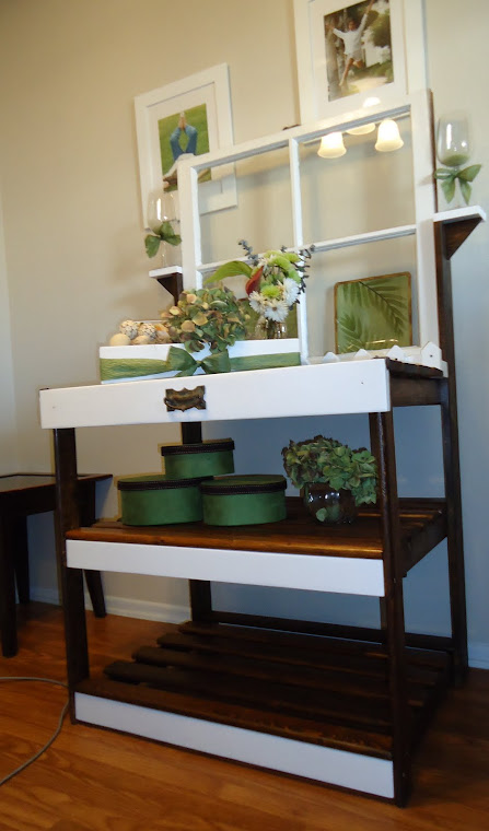 Repurposed 1950s Window, Bunk Bed Ladder Rungs with Vintage Hardware- SOLD