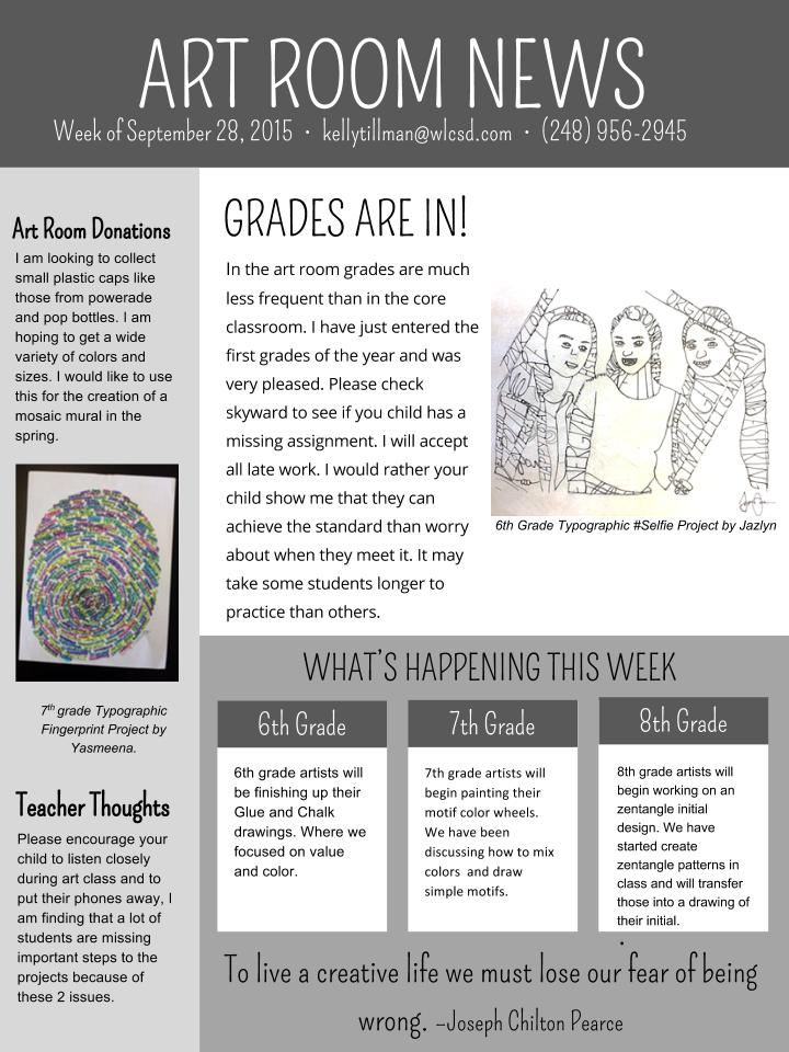 Geisler Art Room Parent Newsletter Oct 2nd