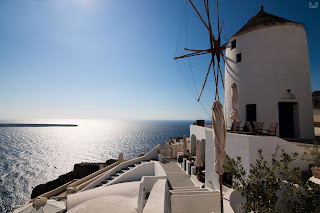 Greek islands Santorini traditional windmills